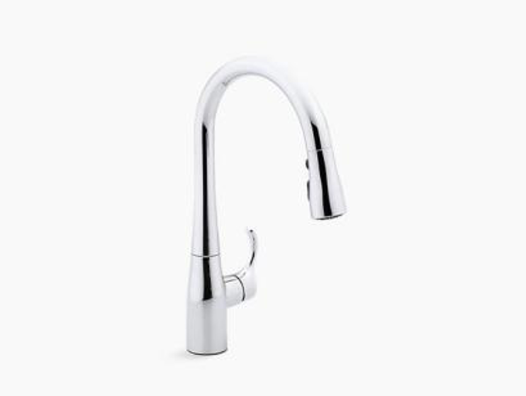 Single-hole or three-hole kitchen sink faucet with 15-3/8 pull-down spout, DockNetik® magnetic docking system, and a 3-function sprayhead featuring Sweep® spray