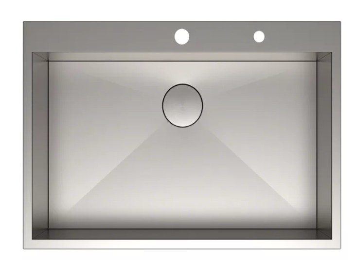 Drop In Single Basin Stainless Steel Kitchen Sink with Sound Dampening